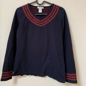 Black Orvis Top with red detail - GUC- Size small
